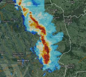 Skan odbiciowości radarowej (produkt CMAX) z północno-wschodniej Polski z godz. 14:40. Źródło: IMGW-PIB.