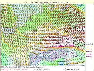 Prędkość wiatru na wysokości izobarycznej 850 hPa (skala w stopniach Beauforta). Źródło: wetter3.de