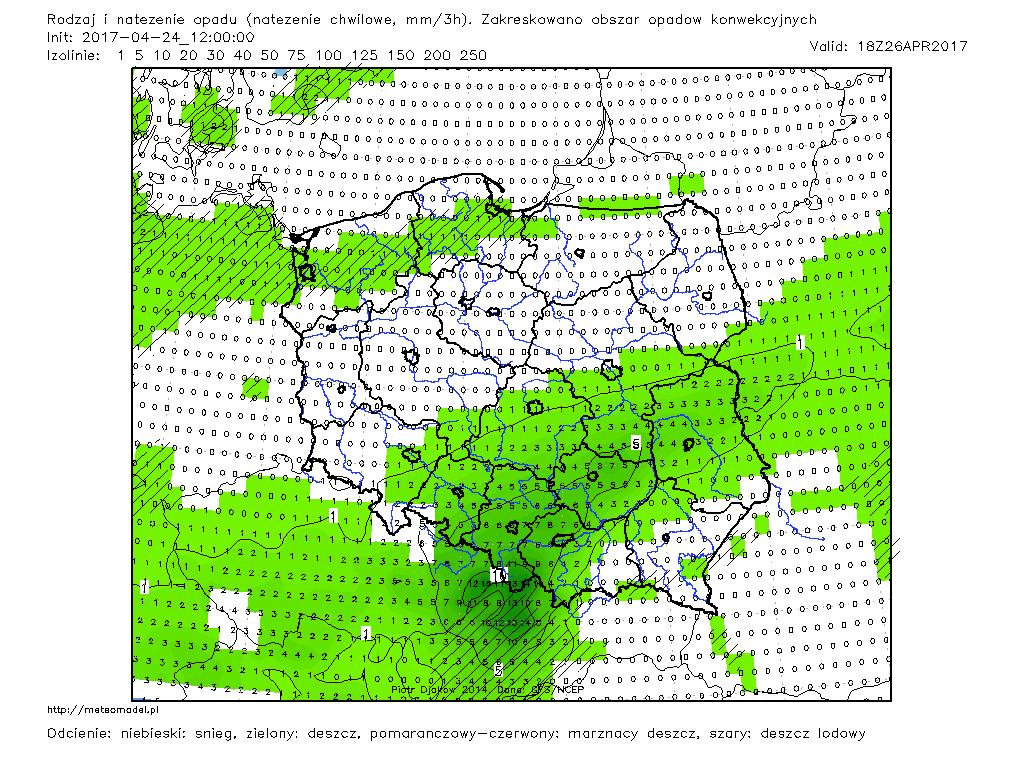 Prognozowany rodzaj i natężenie opadu w dniu 26.04.2017 r., godz. 18:00 UTC. Model GFS. Źródło: Meteomodel.pl