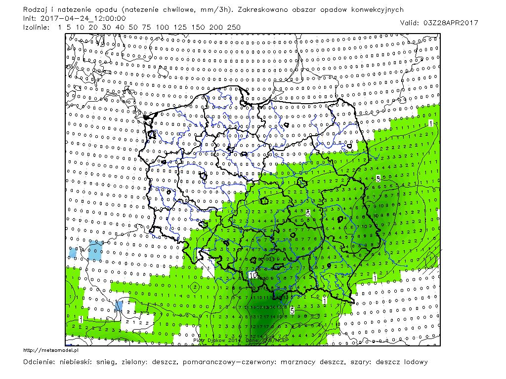 Prognozowany rodzaj i natężenie opadu w dniu 28.04.2017 r., godz. 03:00 UTC. Model GFS. Źródło: Meteomodel.pl