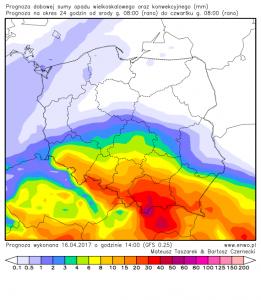 Dobowa suma opadów do czwartku, 20.04.2017, godz. 08:00 CEST (model GFS, http://enwo.pl/polish.php)