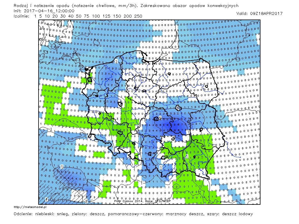 Rodzaj prognozowanych opadów i ich natężenia - w obecnej sytuacji należy bardzo ostrożnie interpretować wynik tej prognozy z uwagi na temperaturę wynoszącą ok. 1°C. Zarówno możliwy jest wariant z większym, jak i z mniejszym obszarem opadów śniegu (prognoza GFS na 18.04.2017, godz. 11;00 CEST; http://meteomodel.pl)