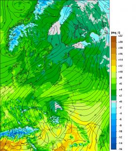 Temperatura na wys. 2 m - prognoza na wtorek, 19.04.2017, godz. 14:00 CEST (model UMPL, http://meteo.pl)