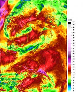 Prognoza maksymalnych porywów wiatru modelu UM z 25.04.2017 r. (wtorek), godz. 12:00. http://www.meteo.pl/