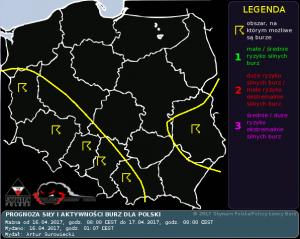 Prognoza siły i aktywności burz dla Polski na dzień 16.04.2017 i na noc 16/17.04.2017