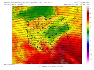 Maksymalna temperatura powietrza wyliczana w dniu 3.05.2017 r. Źródło: Model GFS, Meteomodel.pl