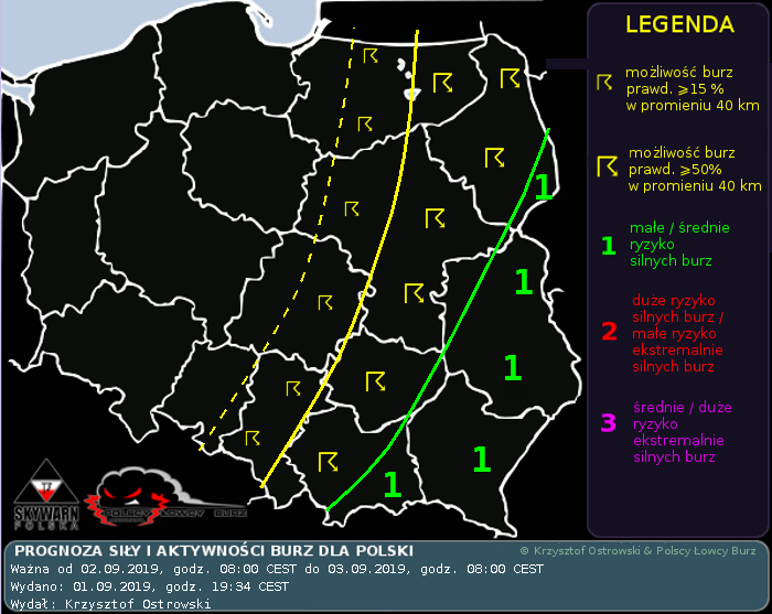 Prognoza konwekcyjna dla Polski na dzień 02.09.2019 i na noc 02/03.09.2019