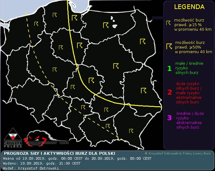 Prognoza konwekcyjna dla Polski na dzień 19.09.2019 i noc 19/20.09.2019