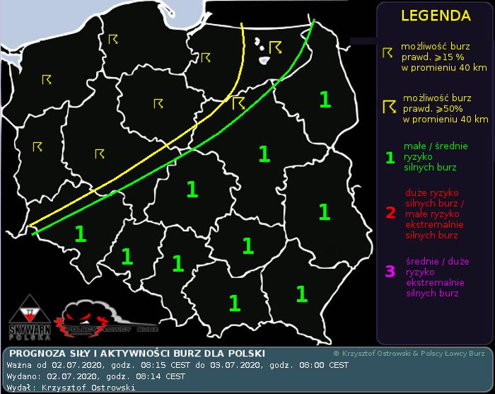 Prognoza konwekcyjna na dzień 2.07.2020 i noc 2/3.07.2020