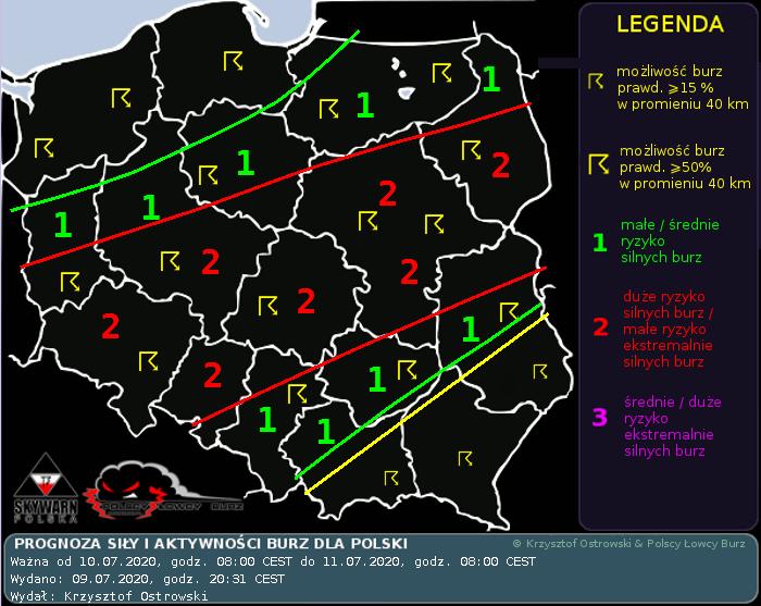 Prognoza konwekcyjna dla Polski na dzień 10.07.2020 i noc 10/11.07.2020
